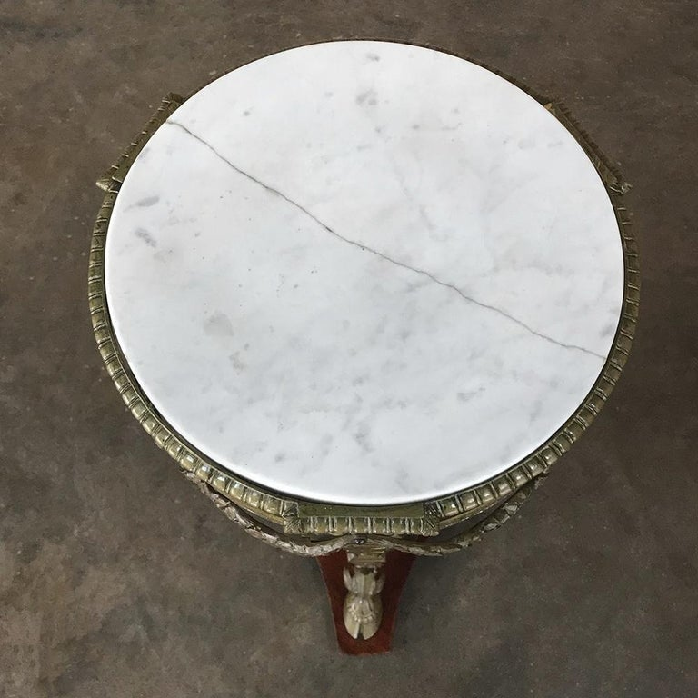 19th Century French Louis XVI Marble Top Brass Pedestal For Sale 4