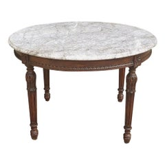 19th Century French Louis XVI Marble Top Center Table, Coffee Table