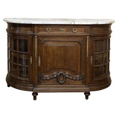 19th Century French Louis XVI Marble-Top Display Buffet