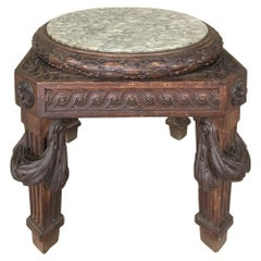 19th Century French Louis XVI Marble-Top Lamp Table, Pedestal