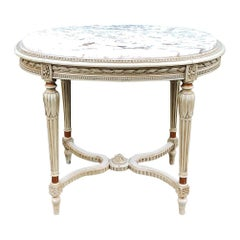 19th Century French Louis XVI Marble Top Oval End Table