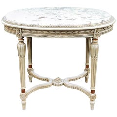 19th Century French Louis XVI Marble Top Oval Painted End Table