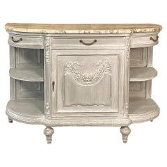 19th Century French Louis XVI Marble-Top Painted Buffet