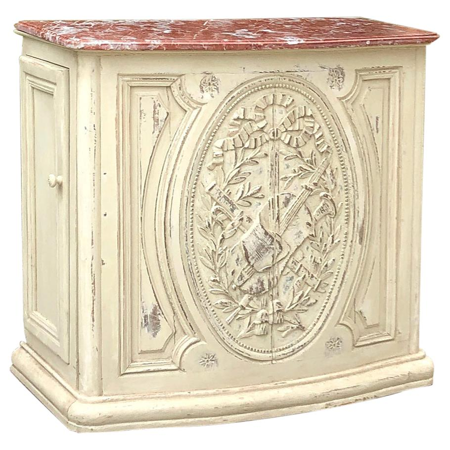 19th Century French Louis XVI Marble Top Painted Counter, Bar