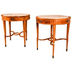19th Century French Louis XVI Marble Top Sides Tables, Pair