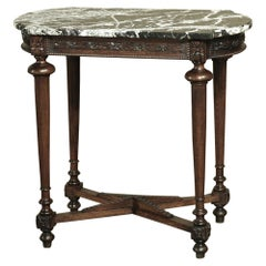 19th Century French Louis XVI Marble Top Walnut End Table