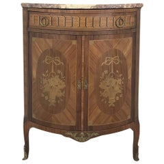 19th Century French Louis XVI Marquetry Marble Top Corner Cabinet