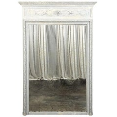 19th Century French Louis XVI Neoclassical Painted Trumeau Mirror, circa 1860