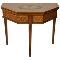 19th Century French Louis XVI Octagonal Rosewood Marquetry Console Game Table