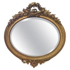 19th Century French Louis XVI Oval Giltwood Mirror