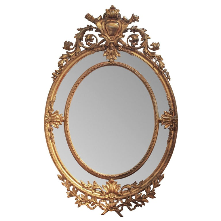 19th Century French Louis XVI Oval Giltwood Mirror For Sale