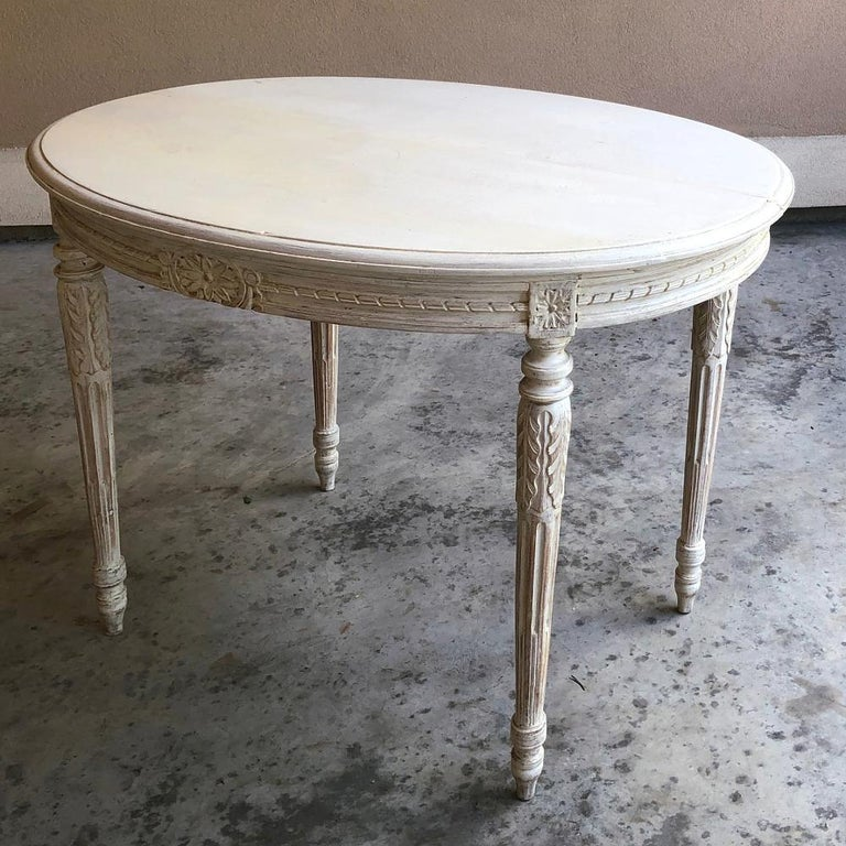 Late 19th Century 19th Century French Louis XVI Oval Painted Center Table For Sale