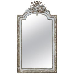 19th Century French Louis XVI Painted and Gilded Mirror