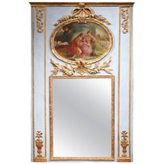 19th Century French Louis XVI Painted and Gilt Trumeau Mirror from Normandy
