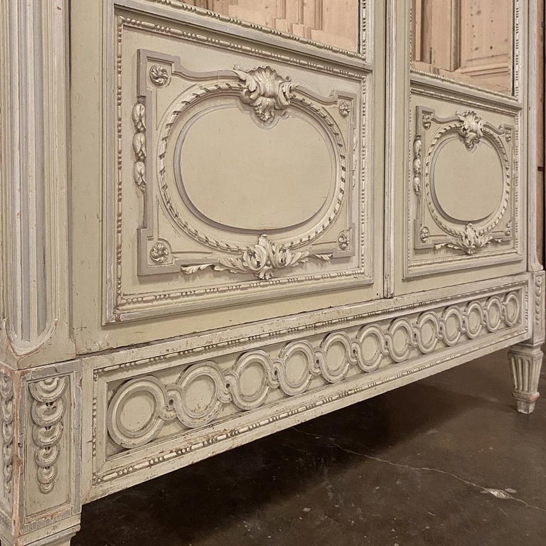 19th Century French Louis XVI Painted Armoire For Sale 6