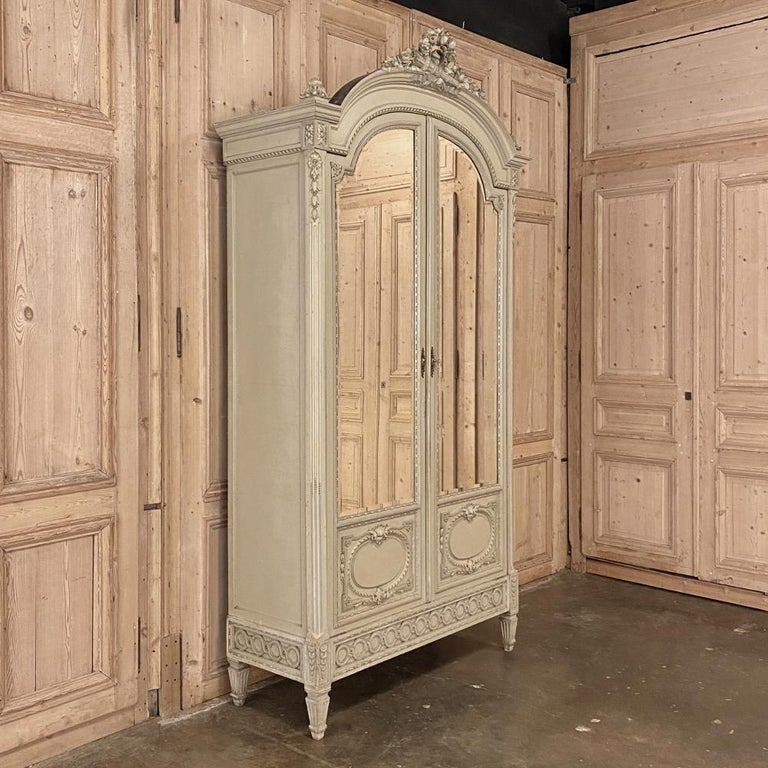 Beveled 19th Century French Louis XVI Painted Armoire For Sale