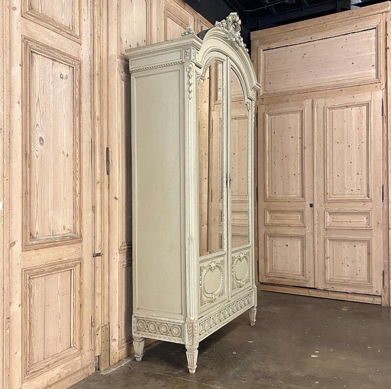 Late 19th Century 19th Century French Louis XVI Painted Armoire For Sale