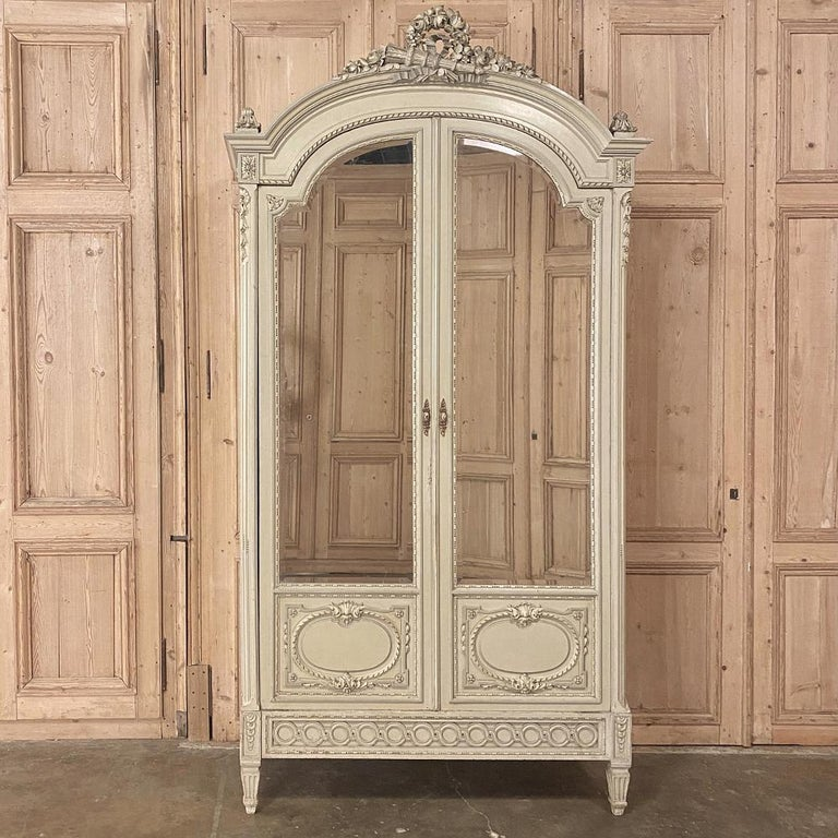 Mirror 19th Century French Louis XVI Painted Armoire For Sale