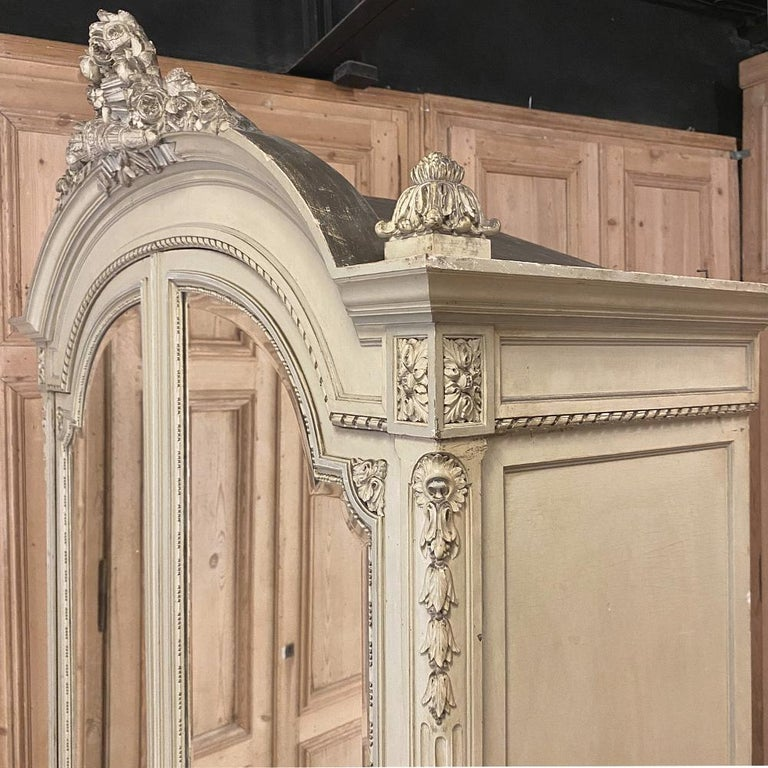 19th Century French Louis XVI Painted Armoire For Sale 2