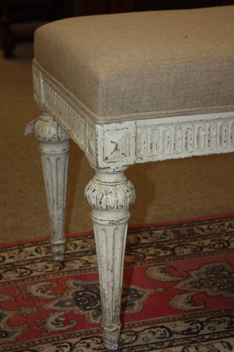 19th Century French Louis XVI Painted Bench In Good Condition For Sale In Fairhope, AL