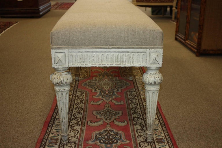 19th Century French Louis XVI Painted Bench For Sale 1