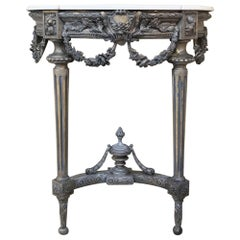 19th Century French Louis XVI Painted Marble-Top Console