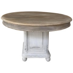19th Century French Louis XVI Painted Pedestal Table