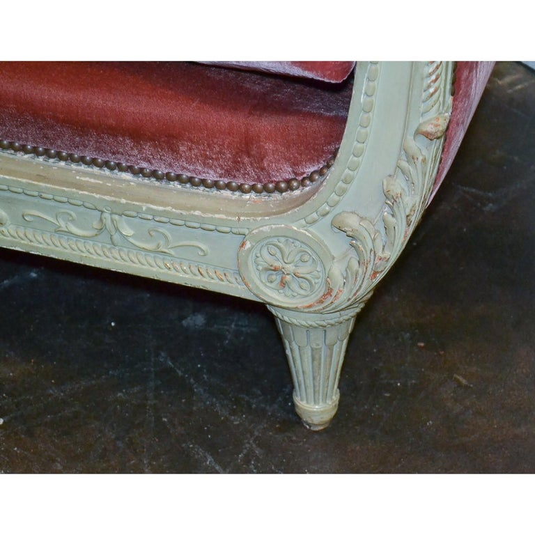 Carved 19th Century French Louis XVI Painted Sofa For Sale