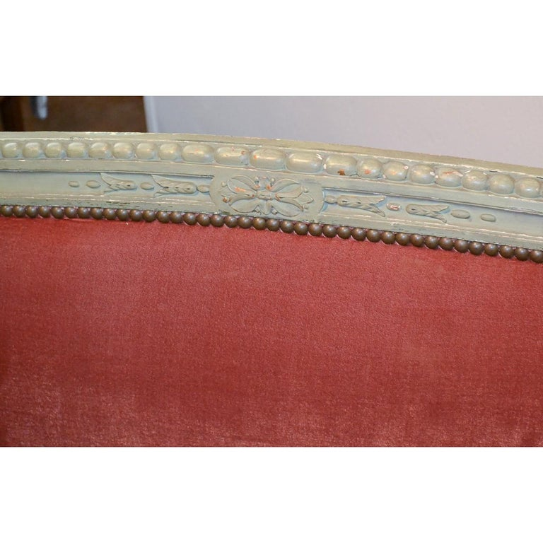 Wood 19th Century French Louis XVI Painted Sofa For Sale