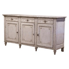 19th Century French Louis XVI Painted Three-Door Buffet with Faux Marble Top