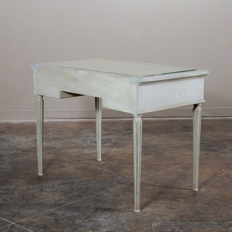 19th Century French Louis XVI Painted Vanity, Writing Table For Sale 8