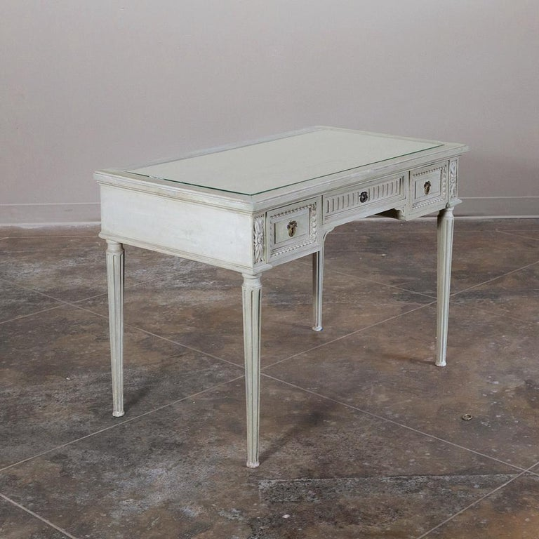 19th Century French Louis XVI Painted Vanity, Writing Table In Good Condition For Sale In Dallas, TX