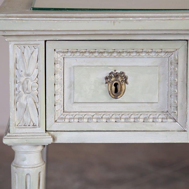 Wood 19th Century French Louis XVI Painted Vanity, Writing Table For Sale