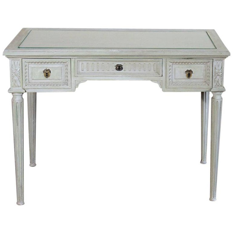 19th Century French Louis XVI Painted Vanity, Writing Table For Sale