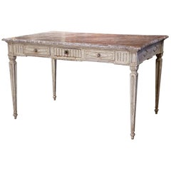 19th Century French Louis XVI Painted Writing Table Desk with Faux Marble Top