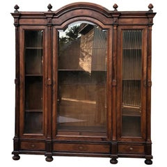 19th Century French Louis XVI Rosewood Triple Display Armoire, Bookcase