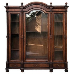19th Century Dutch Wilhelm Ii Oak Armoirevitrine Or
