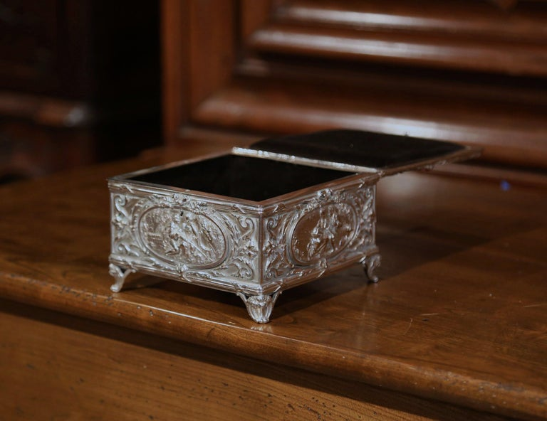 Hand-Crafted 19th Century French Louis XVI Silver on Copper Ornate Repoussé Jewelry Casket For Sale