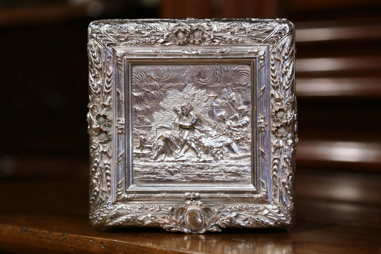 19th Century French Louis XVI Silver on Copper Ornate Repoussé Jewelry Casket In Excellent Condition For Sale In Dallas, TX