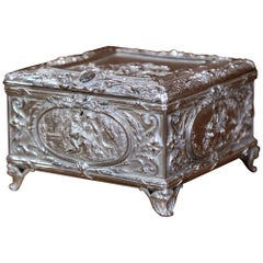 19th Century French Louis XVI Silver on Copper Ornate Repoussé Jewelry Casket