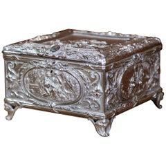 19th Century French Louis XVI Silver on Copper Repoussé Jewelry Casket Box