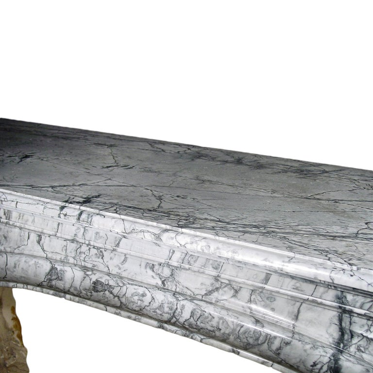 19th Century French Louis XVI Style Gris St. Anne' Marble Mantle In Excellent Condition For Sale In West Palm Beach, FL