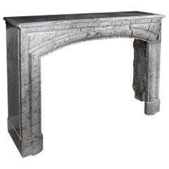 19th Century French Louis XVI Style Gris St. Anne' Marble Mantle