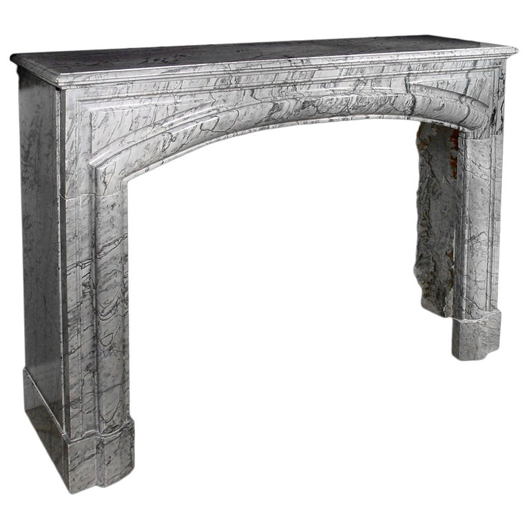19th Century French Louis XVI Style Gris St. Anne' Marble Mantle For Sale