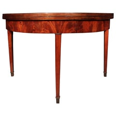 19th Century French Louis XVI St. Mahogany Demilune Games Table or Console