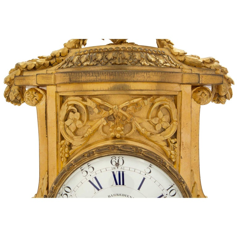 19th Century French Louis XVI St. Ormolu Clock, Signed 'F. Barbedienne' For Sale 3