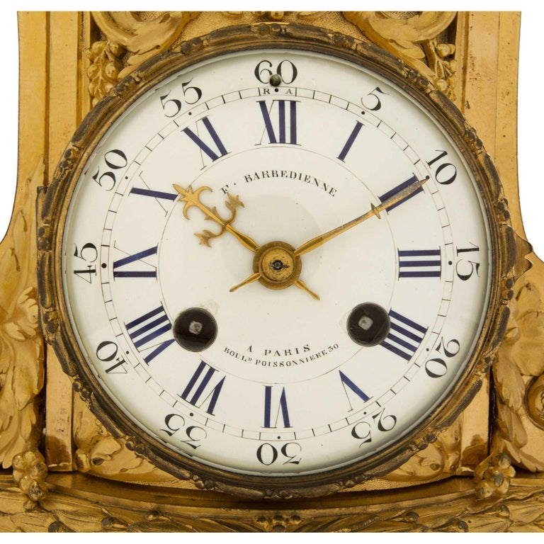 19th Century French Louis XVI St. Ormolu Clock, Signed 'F. Barbedienne' For Sale 4