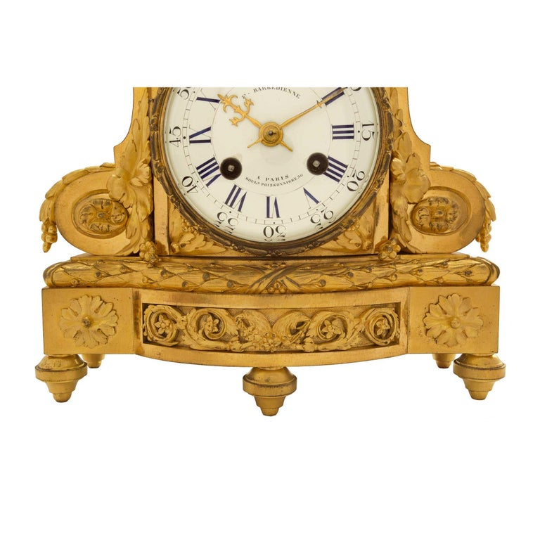 19th Century French Louis XVI St. Ormolu Clock, Signed 'F. Barbedienne' For Sale 5