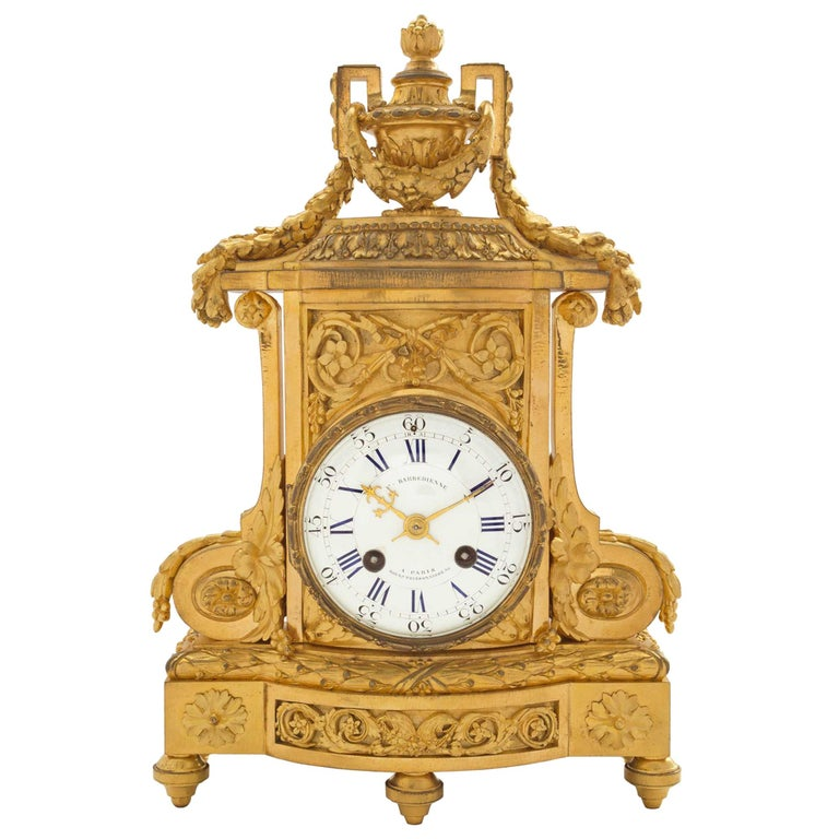 19th Century French Louis XVI St. Ormolu Clock, Signed 'F. Barbedienne' For Sale