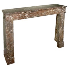 """19th Century French Louis XVI Style """"Catalan red"""" Marble Mantel"""